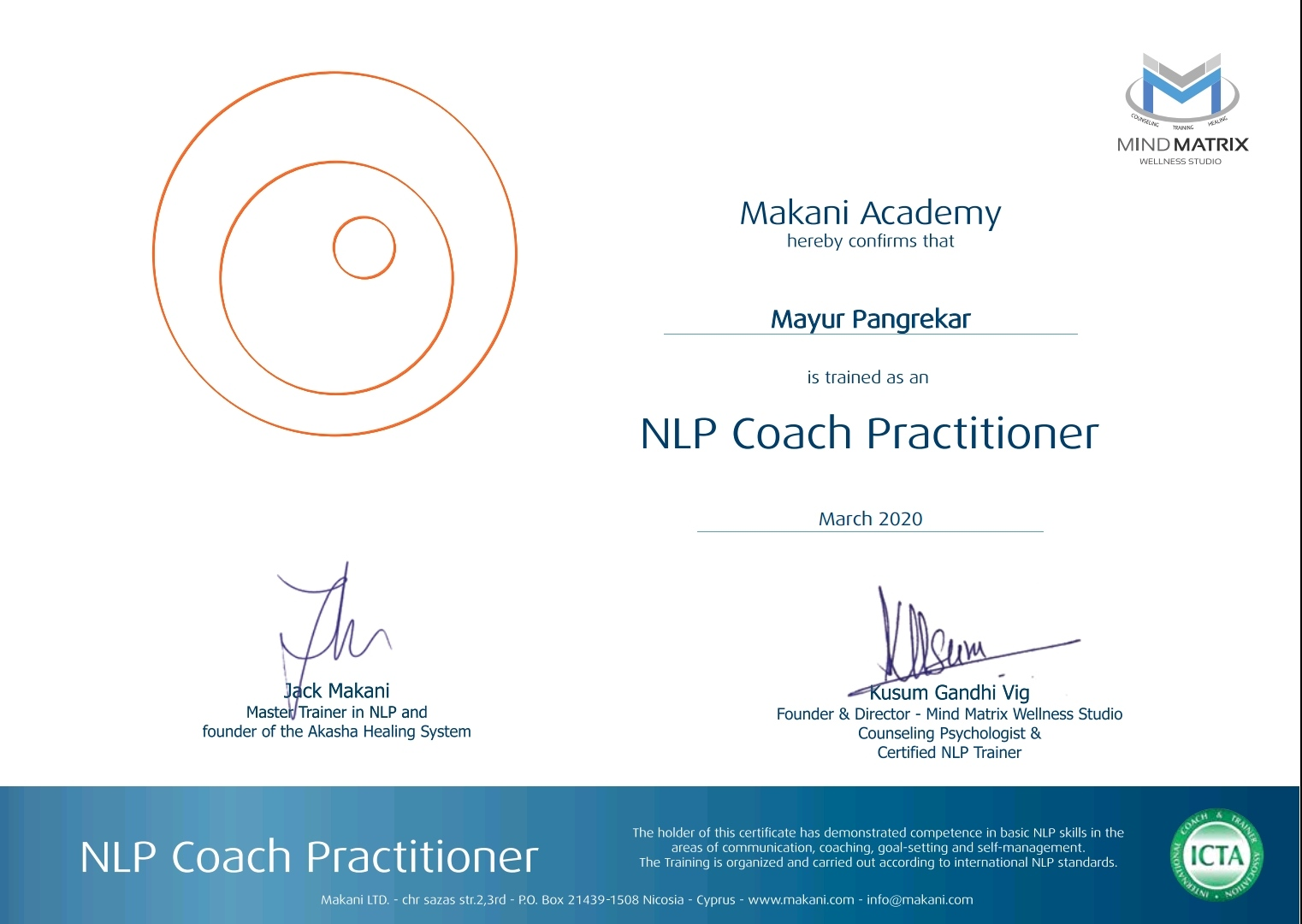 105-NLP ICTA certificate